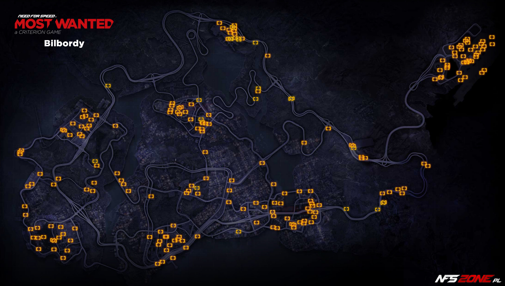 NFS - Need for Speed Most Wanted (2012) - mapa bilbordy Fairhaven - Billboards Map