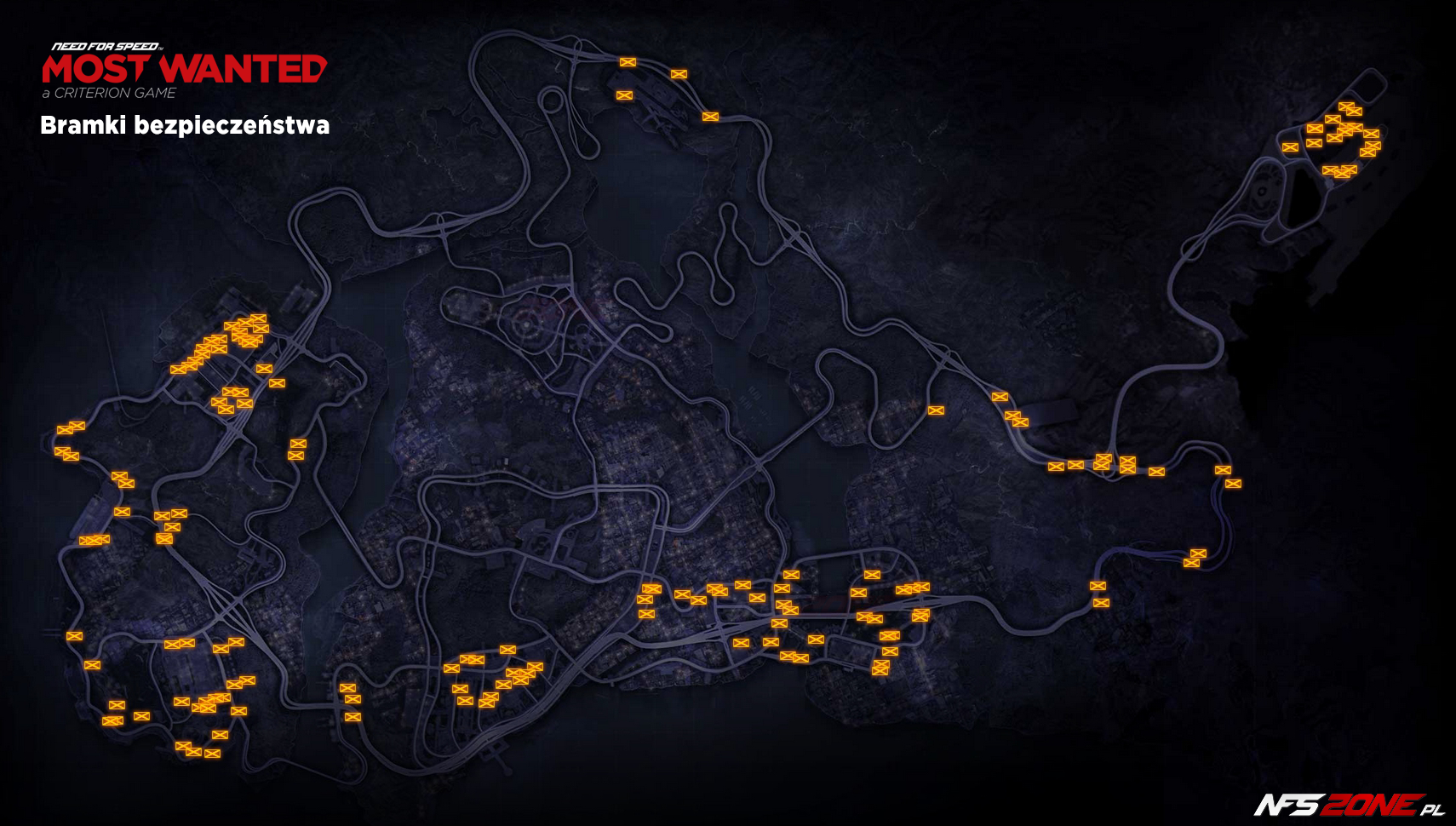 NFS - Need for Speed Most Wanted (2012) - mapa bramki bezpieczeństwa Fairhaven - Security Gates Map