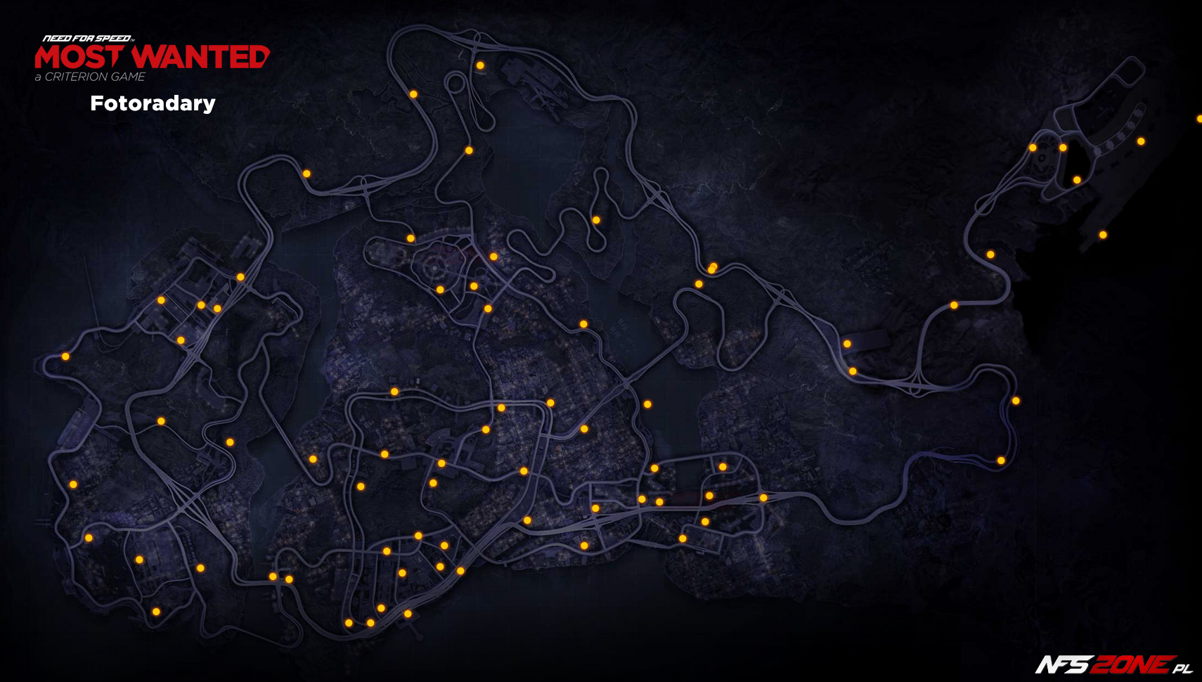 NFS - Need for Speed Most Wanted (2012) - mapa fotoradary Fairhaven - Speed Cameras Map