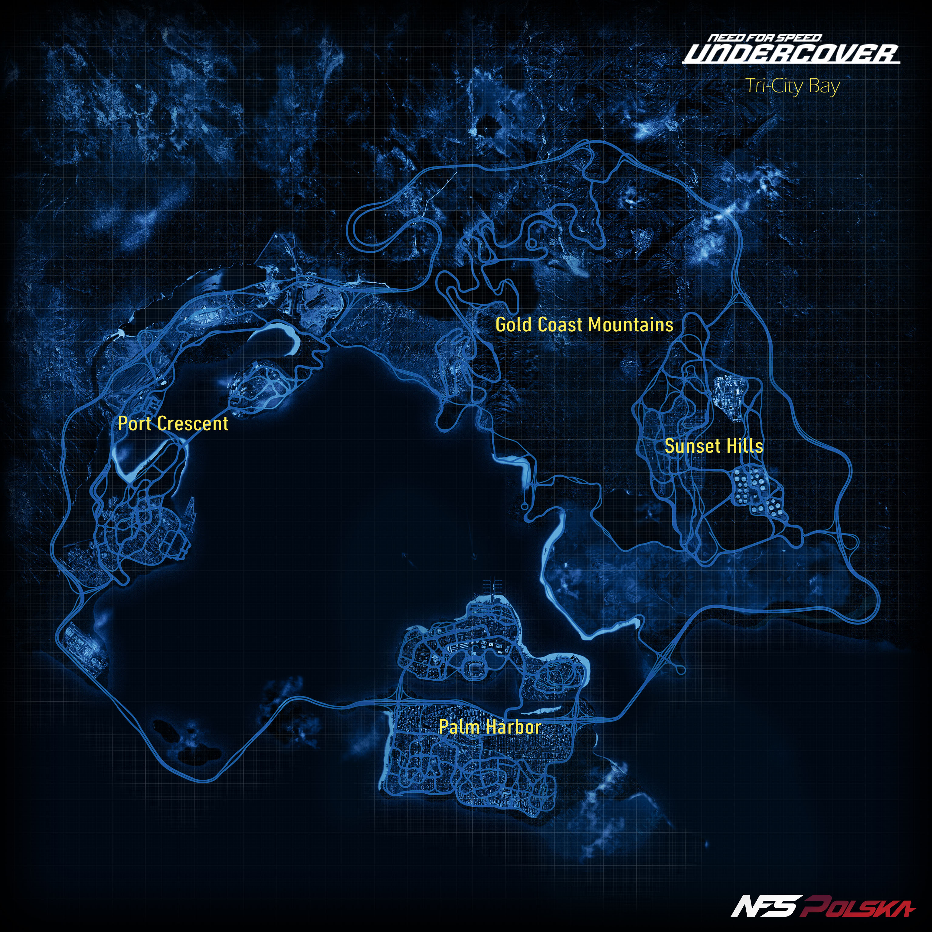 Mapa Tri-City Bay - NFS - Need for Speed Undercover